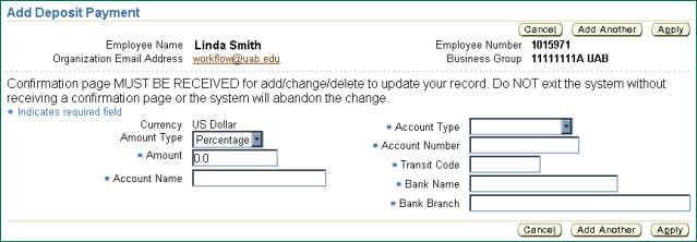 Uab Financial Affairs  Self Service Manage Direct Deposit