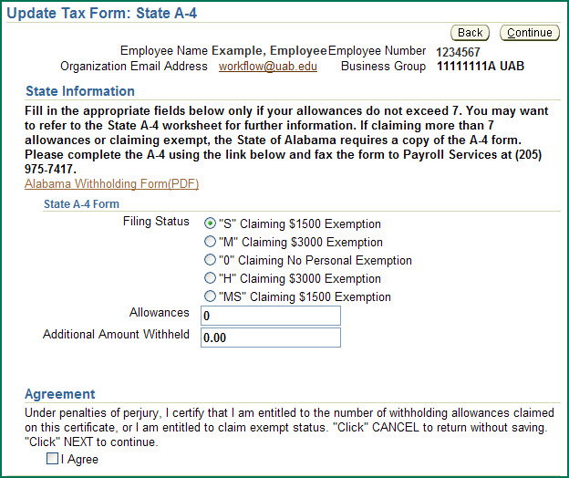 UAB Financial Affairs Self Service State Online Tax Form – Exemption Worksheet
