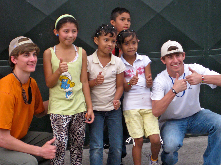 Trip Participants with local Children