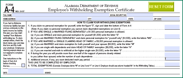 Alabama Withholding Tax Table 2017